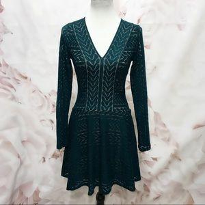 BCBGMaxazria Kinley Cable Stripe Lace Dress XS